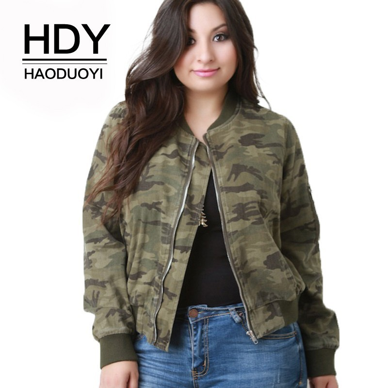 HDY HAODUOYI Plus Size 2019 Camouflage Printed Jackets Zipper Long Sleeve Bomber Jackets Female Clothing Casual Lady Coats Price $45.16