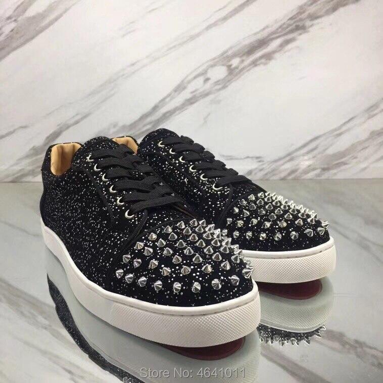 2019 bas Cuir up Cl Matériel Homme Pour Loisirs Rouge Andgz Spécial Coupe Bas Plat Dentelle Sneakers Rivets Chaussures En De Mode Occasionnels SjLVUqpzMG
