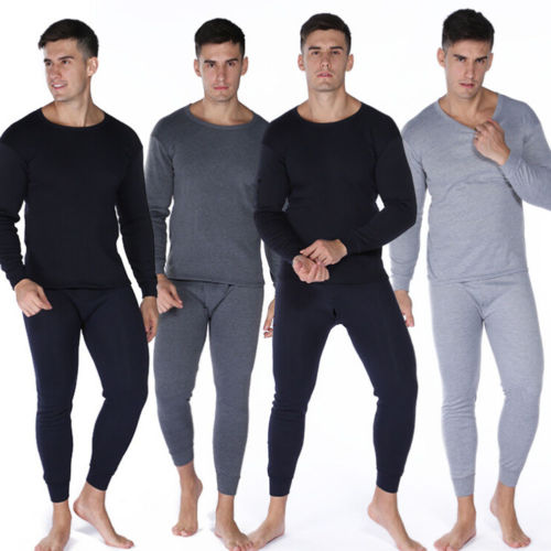 Mens Thermal Underwear Set Top Bottom Waffle Knit Cotton Long John