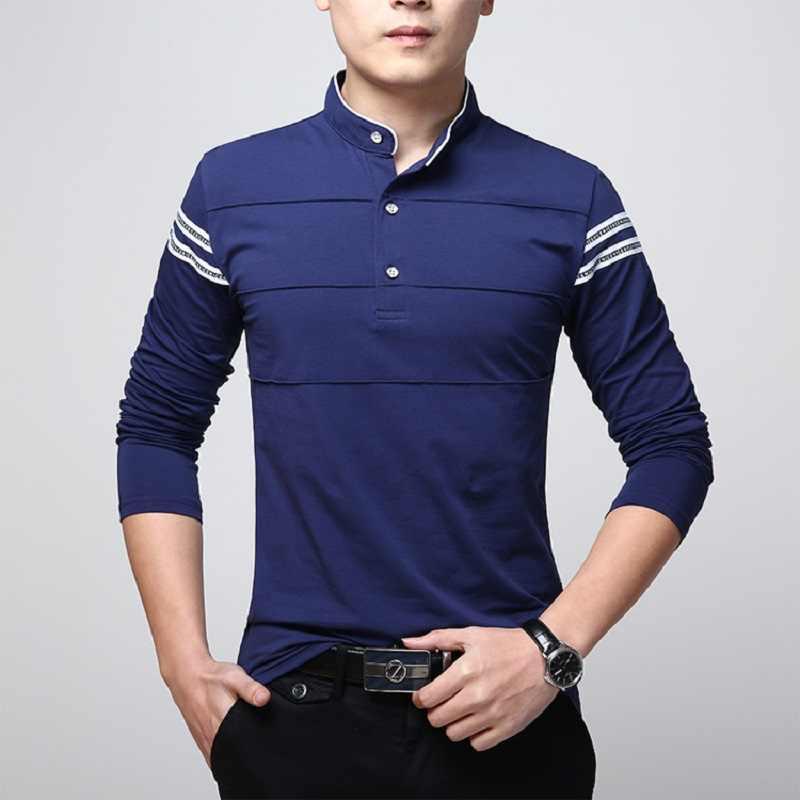 Lente Mode Sociale T-shirt Mannen Lange Mouw Plus Size Streep Mannen T-Shirt 2019 Slim Fit Katoen Mannelijke Elegante Tees tops 4XL 5XL