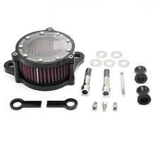 Motorcycle Air Cleaner Intake Filter System Black For Harley-Davidson Forty Eight 2010-2015 black motorcycle spike air cleaner kits intake filter fit for honda shadow 600 vlx600 1999 2012 vlx 600 shadow600 2000 2001 2002