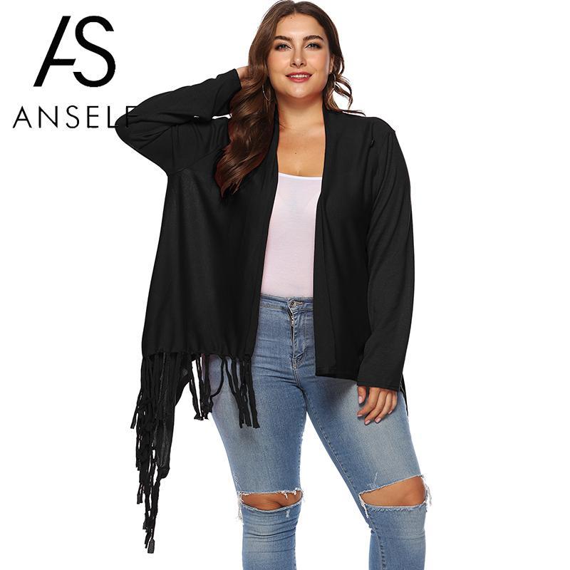 New Women Two Ways Cardigan Coat Open Front Tassels Asymmetrical Plus Size Buttoned Loose Blouses Outwear Oversized Cape Ponchos Women's Clothing