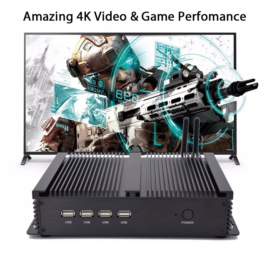 Fanless Industrial PC,Mini Computer,Windows 10 Pro/Linux ,Intel Celeron 1037U,[HUNSN MA03I],(1VGA/1HD/4USB2.0/4USB3.0/2LAN)