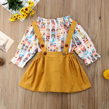 aa416f7e34c4 2PCS Girls Clothes Kids Baby Girls Feather Long Sleeve Print T-shirt  Tops+Suspend Skirt Dress Outfit Set Toddler Girl Clothes