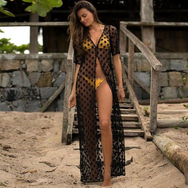 Бикини с закрытой шнуровкой, сетчатый купальный костюм в горошек, Пляжное длинное платье для женщин 2019, летние женские купальные костюмы, пляжная одежда, туника
