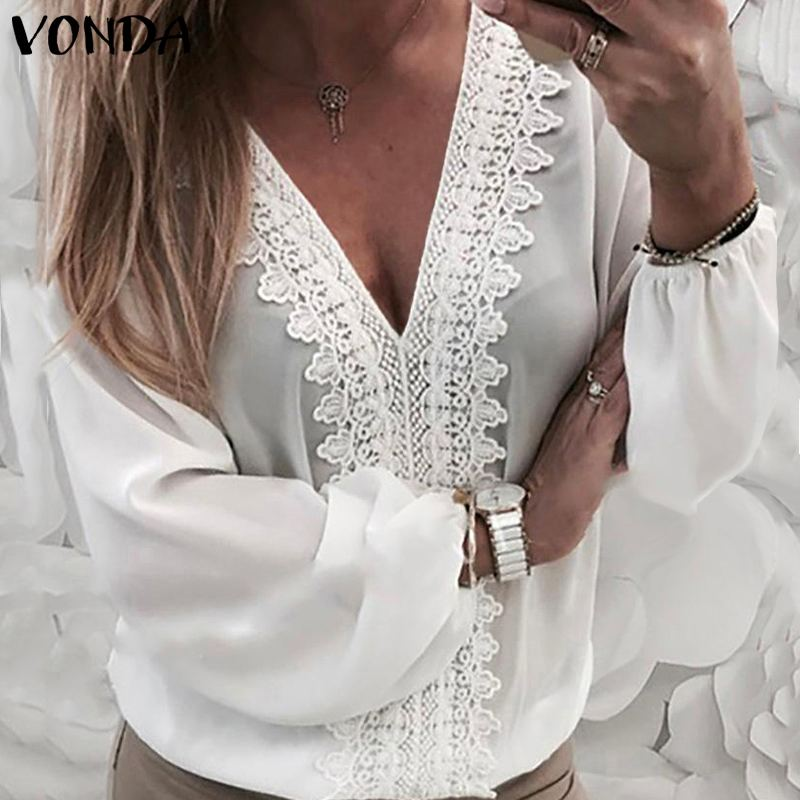 VONDA Women Sexy Long Lantern Sleeve V Neck Back Hollow Lace Shirt Office Ladies Top 2019 Spring Blouse Casual Loose Blouse 5XL