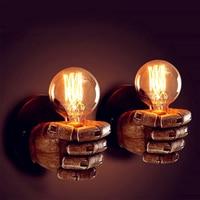 Vintage E27 LED Resin Fist Wall Lamp Retro Corridor Bedside Bedroom Indoor Wall Light Right Fist and Left Fist Night Lamp