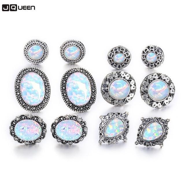 785855c236d7 6 unids set moda oído Retro joyería gota de agua ronda flor grande de  cristal de piedra de ópalo pendientes para las mujeres al por mayor de la  fábrica