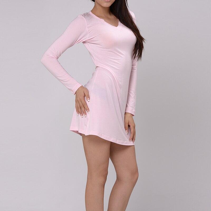 KVF Long Nightgown Women Sleepwear T Shirt Dress Modal Nightdress Ladies  Nightwear Pijama Sleep Dress 4 Colors 2020eaeea