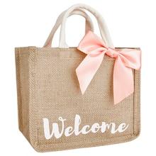 Bow Top-Handle Totes Bag Shopping Cute Handmade Jute Handbag For Women Feminine Wedding 1pc/2pcs/4pcs/6pcs