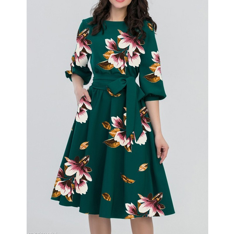 c7f4e1af36166 US $15.5 31% OFF 2019 Spring O neck Long Maternity Dresses For Pregnant  Women Clothes Flowers Print Pregnancy Dress Gravidas Maternity Clothing -in  ...