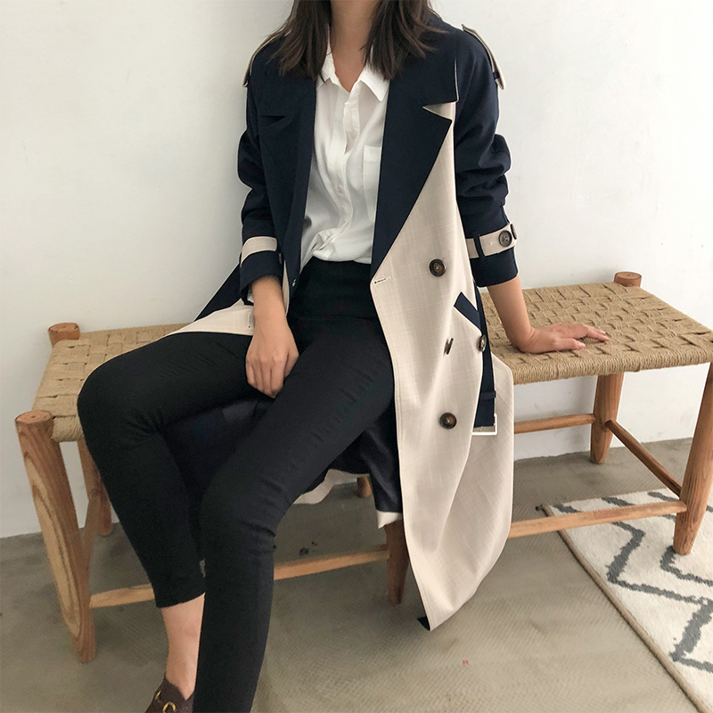 Femmes Coupe Fendue vent Nouveau Commune Collar Double Breasted Mode 2019 down Wd8350 Printemps Pleine Turn Patchwork Coréenne Deat Manches Lattice A45jRL