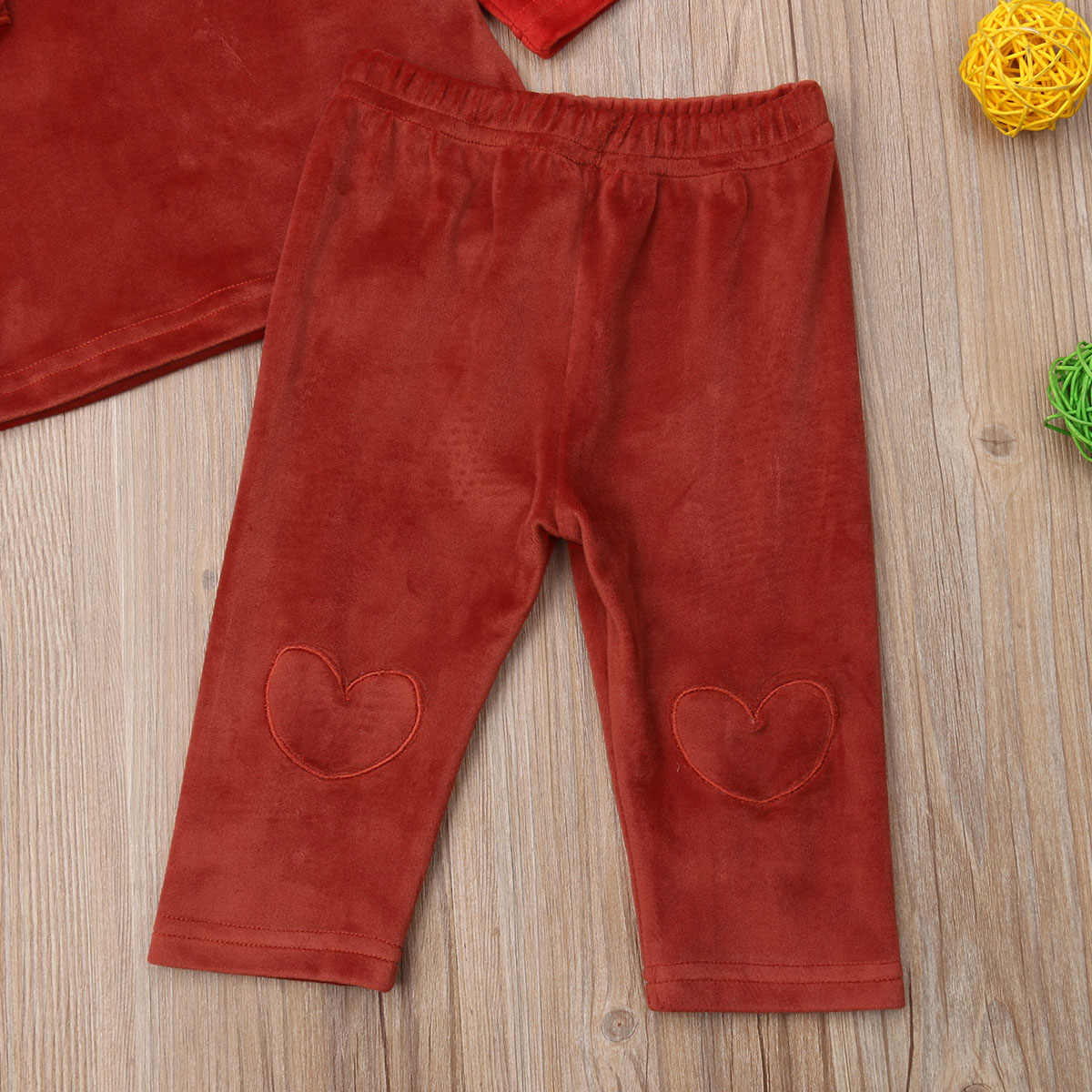 30eee70ecab8 ... Valentine's Day Velvet Tops Ruffle Long Sweatshirt Pants Legging for  Newborn Baby Girl Infant Clothes set ...