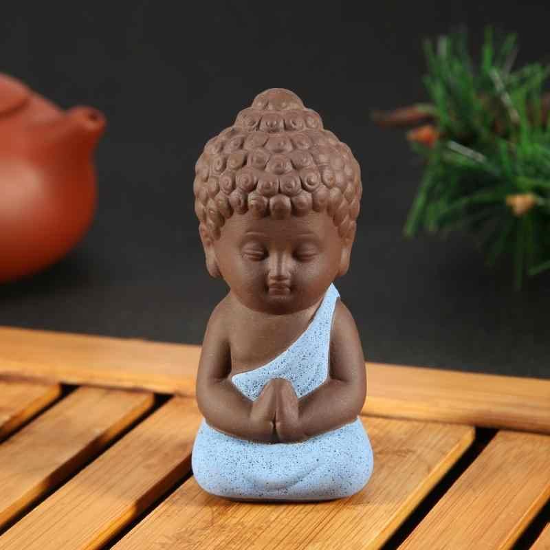 Ornamentos de cerâmica pequena estátua de buda monge estatueta tathagata índia yoga mandala chá pet roxo artesanato cerâmica decorativa