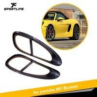 For Porsche 981 Boxster Carbon Fiber Car Door Side Fender Vents Trims Frame Decoration Cover 2013 2014 2015