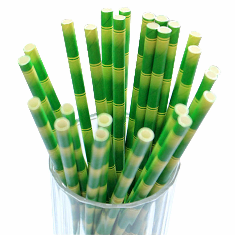Behokic 100 piezas de bambú Biodegradable de pajitas de papel bebiendo decoración pajitas fiestas de cumpleaños boda celebración de Navidad
