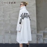 CHICEVER Back Letter Print Spring Women Shirt Blouses Top Female Long Sleeve Loose Oversize Shirts Tops 2019 Fashion Korean New