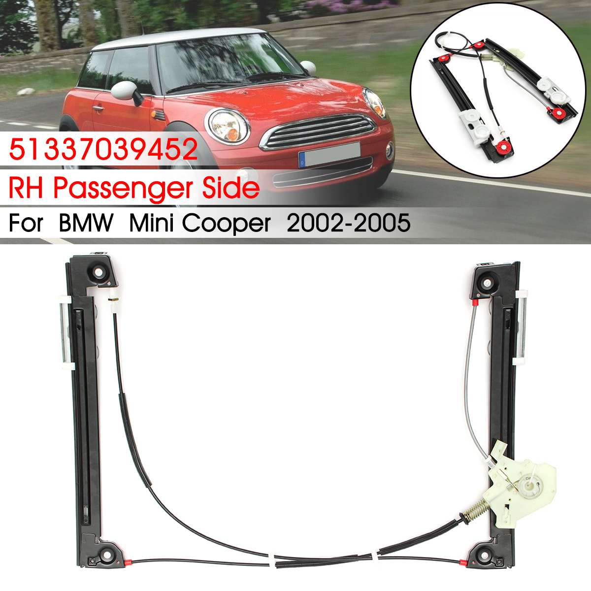 US $41 49 17% OFF|Power Window Regulator Front Right Hand Passenger Side  For BMW for Mini Cooper 2002 2003 2004 2005-in Window Motors & Parts from