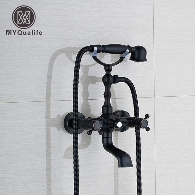 Bathroom Bath Tub Mixer Taps 360 Degree Rotate Tub Spout Bathtub Faucet Brass Handheld Shower Tap Black Bath Shower Faucet