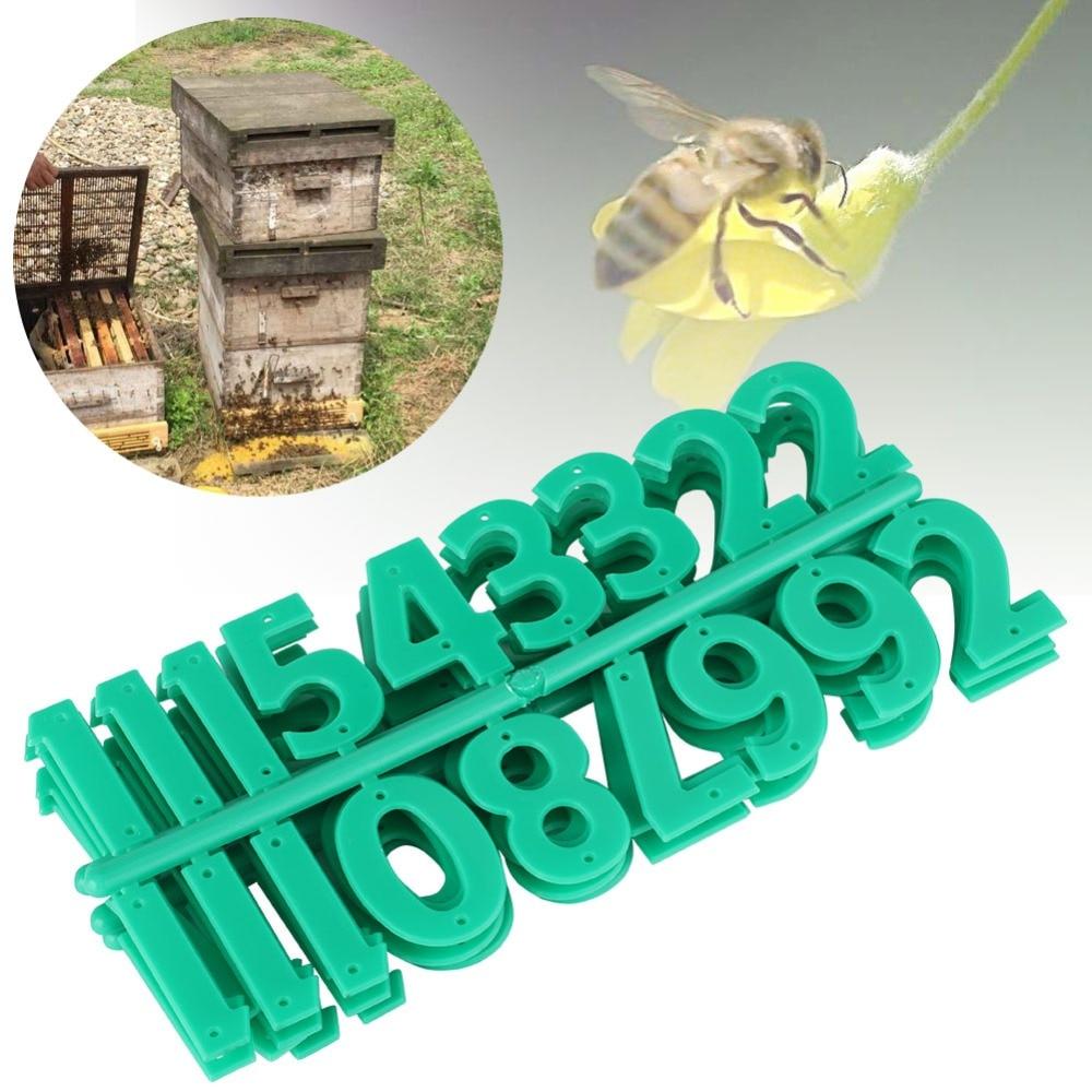 Ambitious 5pcs Plastic Beehive Digital Card Number Sign Frame Beekeeping Marking Board Green Beehive Digital Card Lustrous