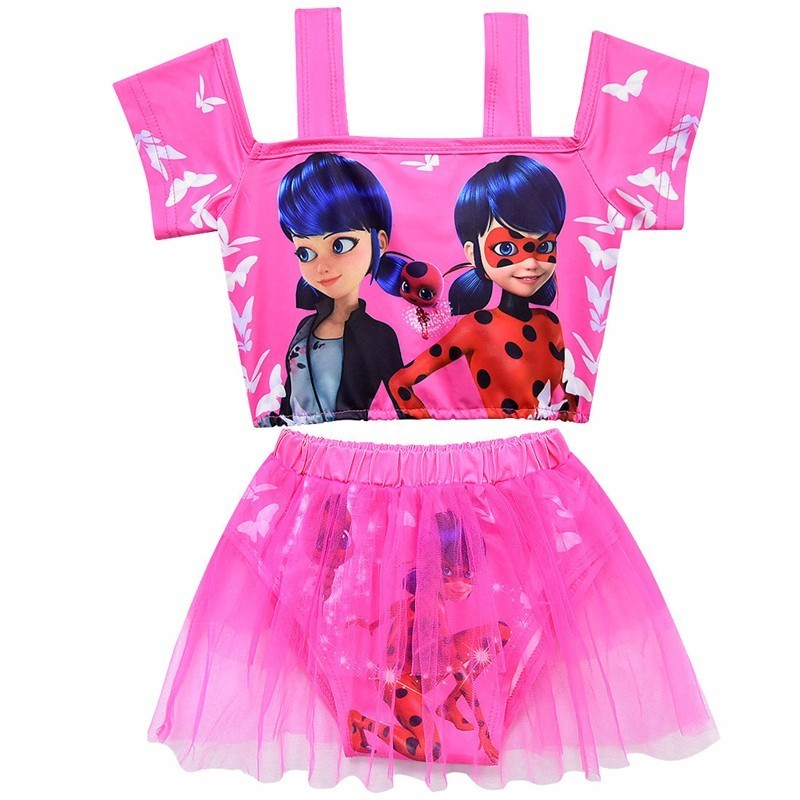 Girls Moana Lady Bug Cosplay Beachwear Bikini Tulle Two-Piece Swimsuit Set Kids Summer Pool Party Cute Cartoon Fancy Swimwear