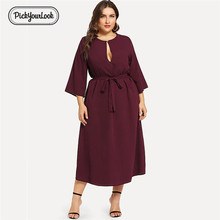 PickyourLook Women Long Sleeve Midi Dress Ladies Casual Evening Party Loose Plus Size OL Workwear Spring New
