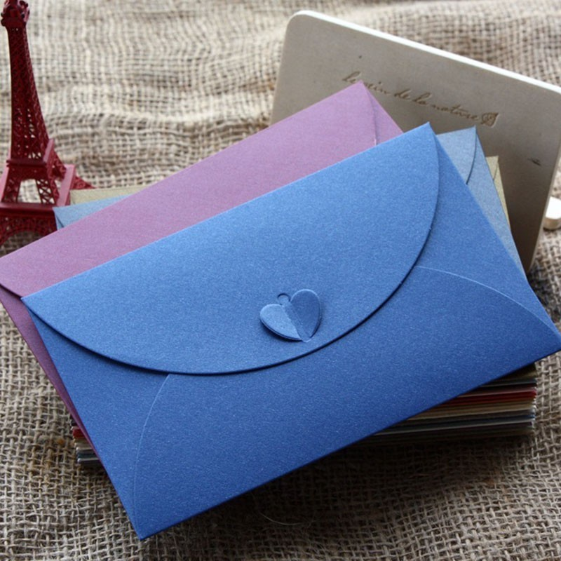 5 Pcs/lot  Retro Heart Shape Style Vintage Romantic Paper Envelop Gift For Wedding Invitation/Card 03216