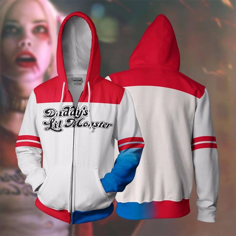 BIANYILONG 2018 nouveaux hommes à capuche Harley Quinn 3D sweats à capuche imprimés survêtement veste à capuche zippé à capuche hip hop hauts magasin d'expédition