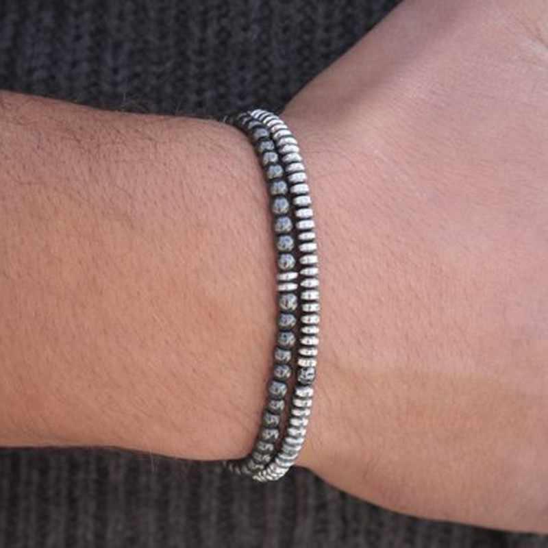 2 sztuk/zestaw 4mm mały naturalny kamień bransoletka z koralików minimalistyczny prosty para Braclet dla Pulsera Hombre Yogo Biker kocha biżuteria