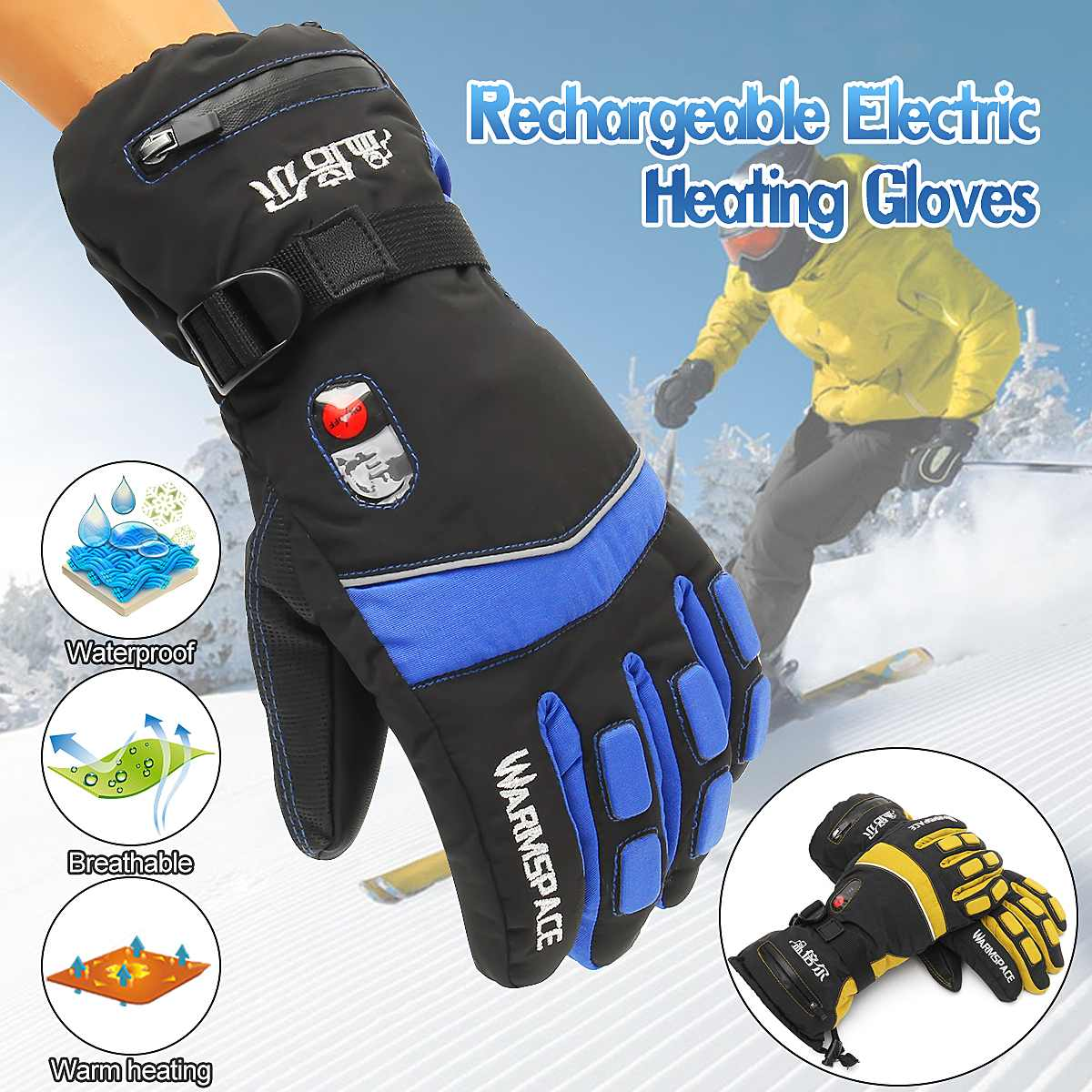 лучшая цена Winter Hand Warmer Electric Thermal Gloves Waterproof Heated Gloves Cycling Motorcycle Heating Ski Gloves Unisex M/XL 1 Pair