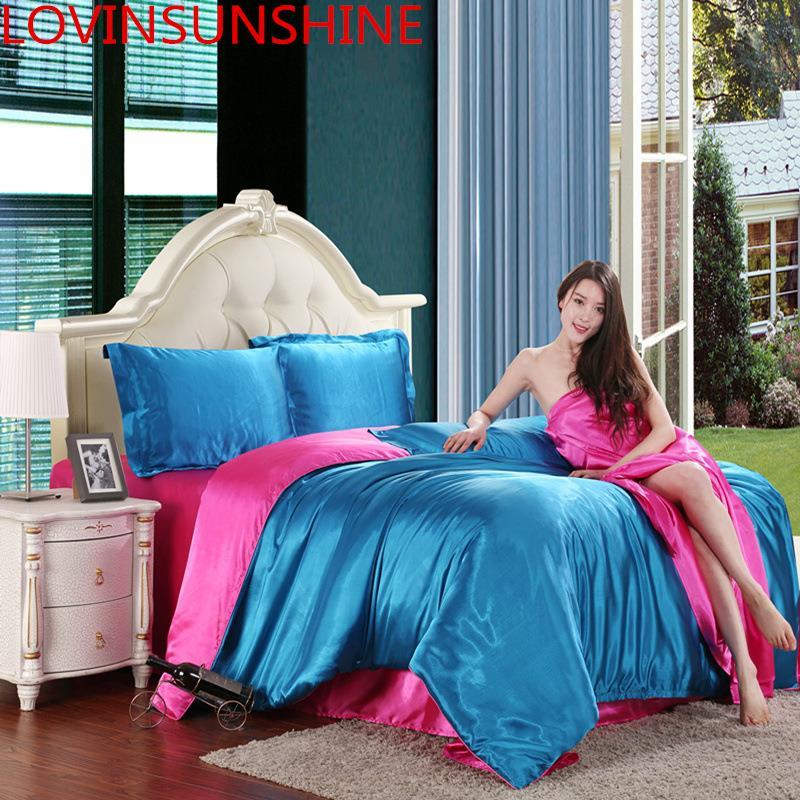 LOVINSUNSHINE Luxury Duvet Cover Comforter Bedding Sets Double Luxury Silk Bedding Set AB05#