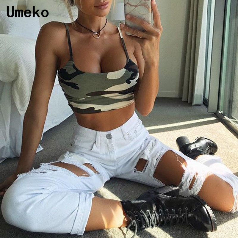 Umeko Summer Women Athleisure Camouflage Print Vest Camis Spaghetti Strap Sexy Crop Top Female Bodycon Tanks Feminina Gilet