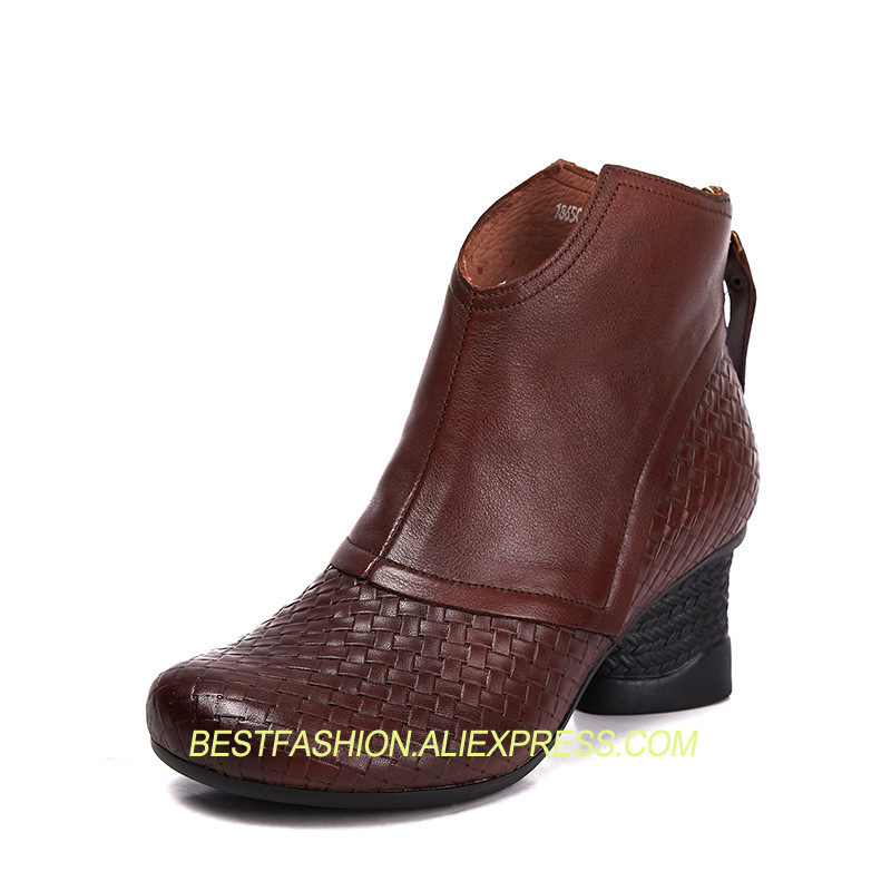 Women Boots genuine leather ankle Boots Europe and the United States with Martin boots round head side zipper bootsWomen Boots genuine leather ankle Boots Europe and the United States with Martin boots round head side zipper boots
