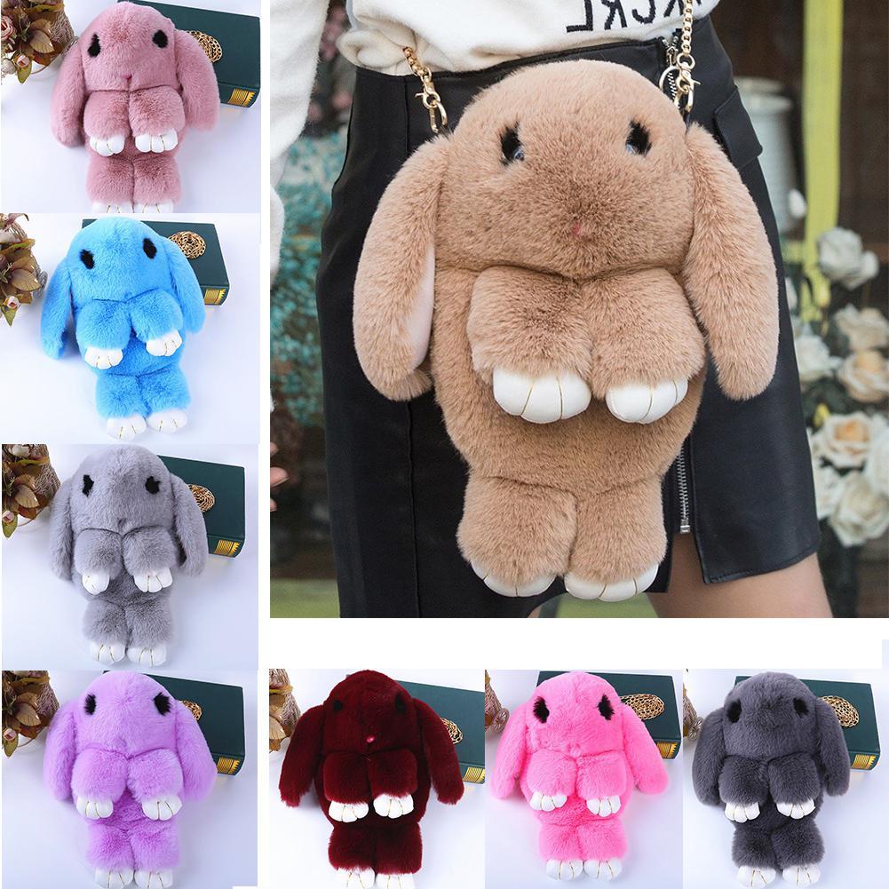 Fluffy Rabbit Fur Pompoms Chain Bag Women Cartoon Rabbit Sling Bag Fluffy Bunny Shoulder Plush Backpack