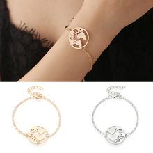 Fashion 1PC Golden  Adjustable World Map Chain Travel Jewelry Round Circle Earth Wanderlust Bracelet Valentines Gift