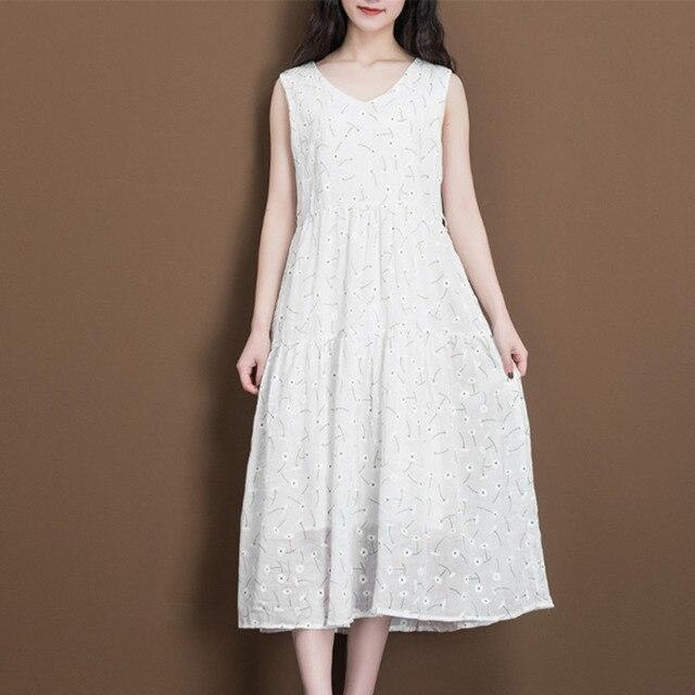 d6d43c594b  0253 Summer V-neck White Tank Top Cotton Linen Dress Women Sleeveless  Floral Print Vintage Long Loose A-line Dresses Ladies