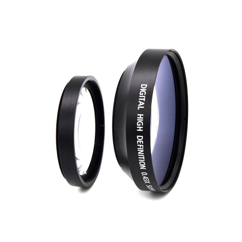 Caméra Lentille HD 62mm 0.43x Grand Angle + Lentille Macro Pour Nikon Canon Sony NEX3 NEX5 NEX NEX-C3 caméra DSLR