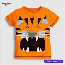 30f7d6240b127c 2019 Little Maven Merk Zomer 2-7 jaar baby Kids Meisjes Jongens  Oranje blauw cartoon katoen Top Kwaliteit katoenen t-shirts Tops.