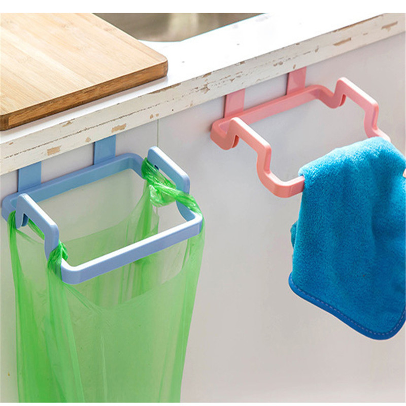 Kitchen Cabinets Storage Towel Shelf Holders Cupboard Door Back Trash Rack Storage Garbage Bag Holder Hanging