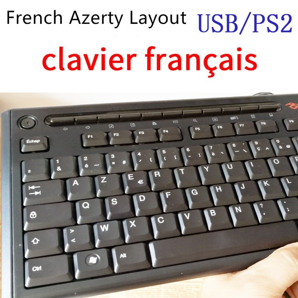 1 Piece Original French Azerty Layout Keyboard Wired Waterproof Keyboard For Acer Genuine Packing USB/PS2 Interface