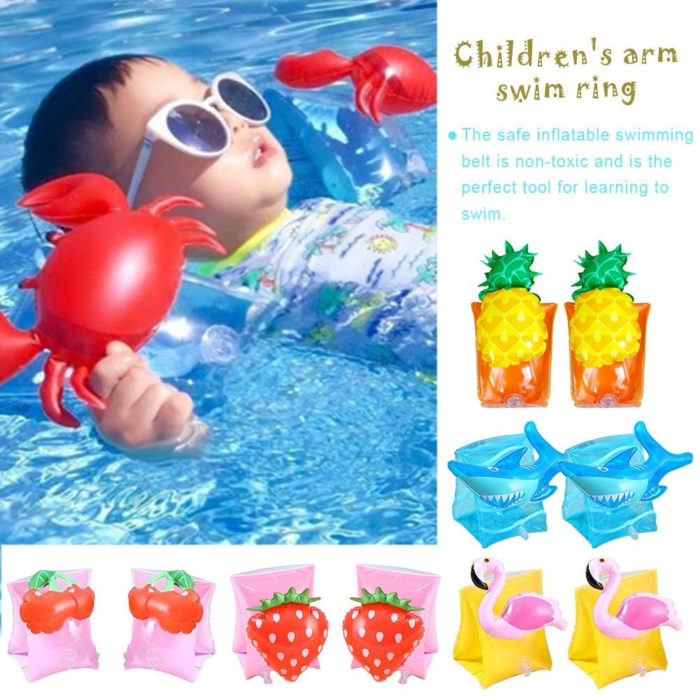 1 Pair Children Arm Swimming Ring Floating Sleeves Flamingo Crab Shape Swimming Rings For Kid Cute Sport Summer Beach Pool Swim in Swimming Rings from Sports Entertainment