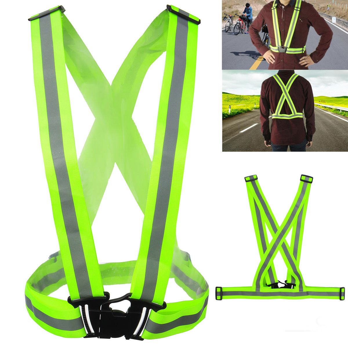 Unisex Outdoor High Visibility Safety Vest Waistcoat Jacket Safety Security Reflective Belt Coat Adjustable For Running CyclingUnisex Outdoor High Visibility Safety Vest Waistcoat Jacket Safety Security Reflective Belt Coat Adjustable For Running Cycling