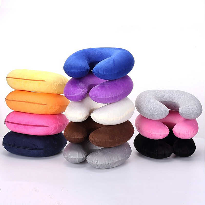 Sale 1PC Headrest Soft U Shaped Cushion Air Flight Inflatable Pillows Car Nursing Cushion Travel Pillow  Support Neck
