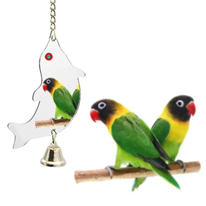 Колокольчик для попугая игрушка животное птица игрушечное Зеркало сердце-образный Круглый прямоугольник дополнительно с колокольчиком в случайном цвете