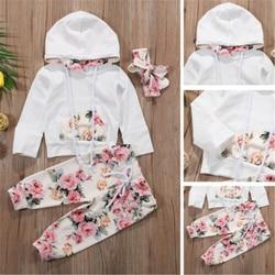 Roupa infantil para meninas, roupa de treino floral para bebês meninas, suéter com capuz estampado + calças legging + tira de cabelo, conjunto 0-2 anos