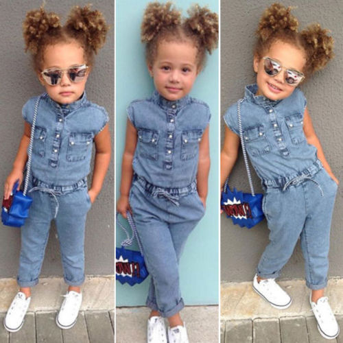 Summer Canis Newborn Kids Baby Girl Denim Short Sleeve Romper Long Pants Jumpsuits Playsuit Outfit Clothes Denim Romper Overalls