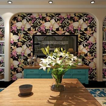 Background Style Big Flower Wallpaper Black American Blue Pastoral Wallpaper 3d Tv Sofa Bedroom Wall Waterproof Wall Paper Roll