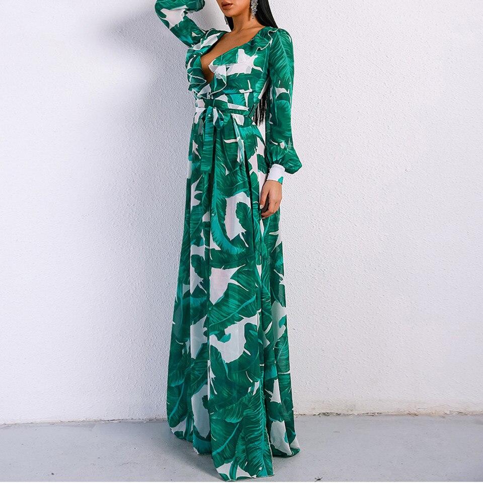 Green Robe À Longues Manches Plage Avec Maxi Champignon Bord Sexy Bandage Feuille De Floral Haute Lotus Moyen Femelle Fente Impression Taille 8twRCC
