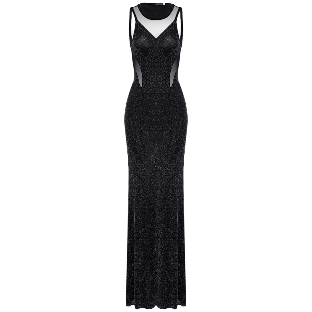 VESTLINDA 2019 женское платье Стильное прозрачное с бисером без спинки вечернее платье «русалка» платье для женщин Распродажа