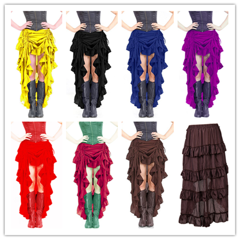Halloween Pirates Of The Caribbean Cosplay Costume Sexy Women Dance Performance Uniform Lrregular Half Skirts